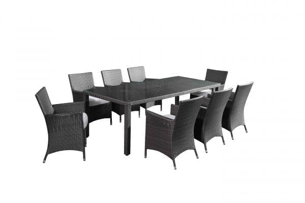 Chiasso 8 Charcoal Patio Wicker Dining Set