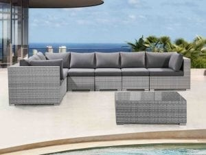 RIva Light Gray Wicker Patio Sectional Set