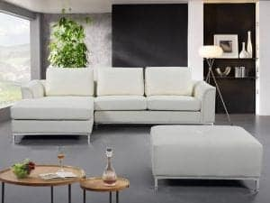 OLLON Cream White Leather Sectional Sofa