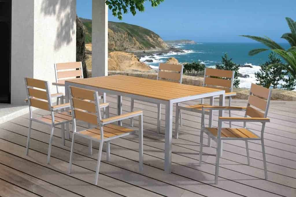 Outdoor Dining Set polywood and aluminum