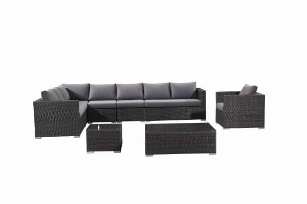 Generoso Dark Grey Wicker Patio Lounge Set