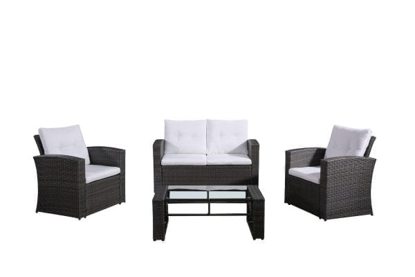 Lamone Charcoal Black Wicker Conversation Set