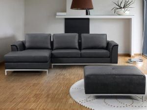 OLLON Black Leather Left Facing Sectional Sofa