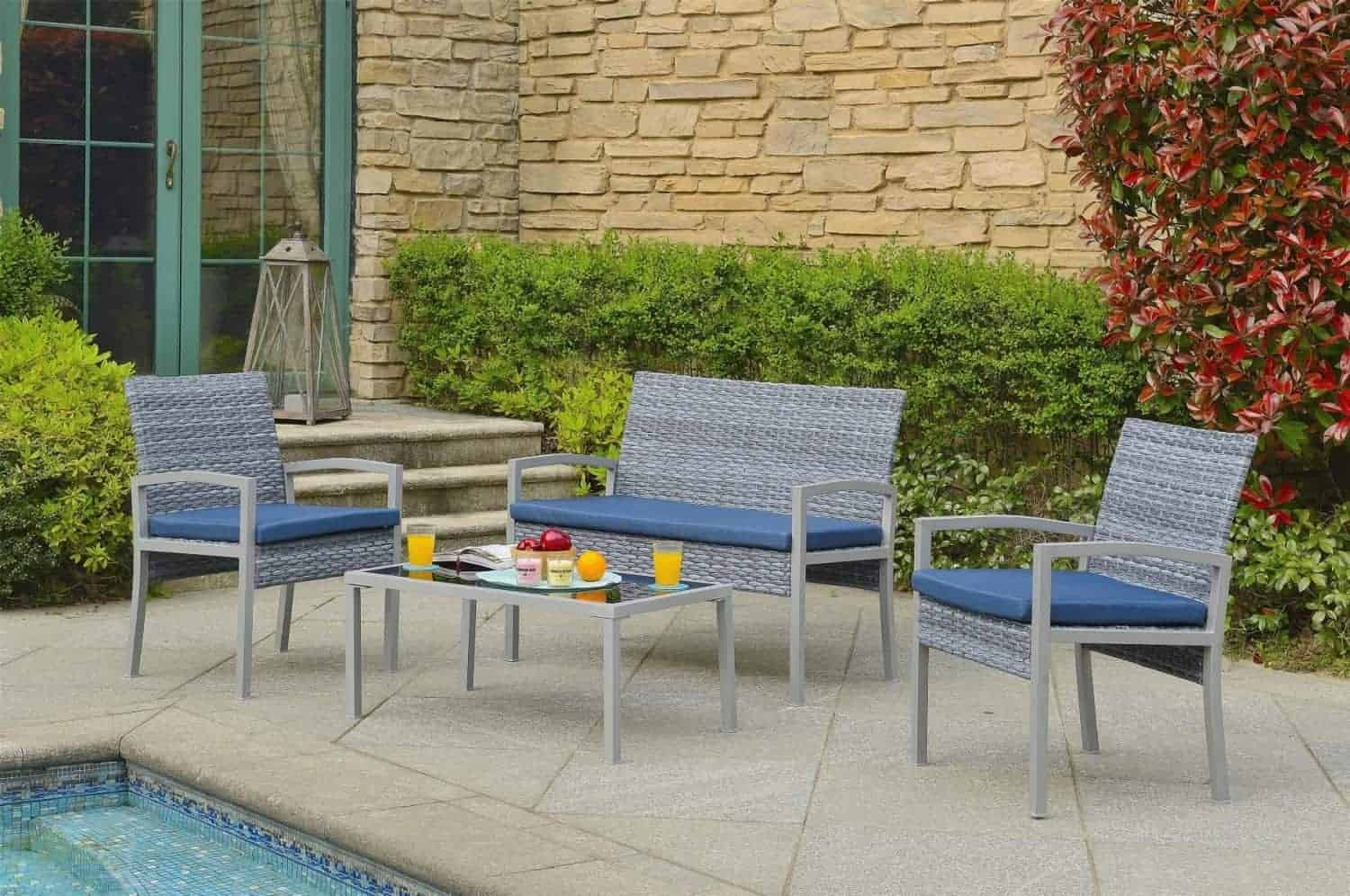 Compact Outdoor Wicker Conversation Set For Porch Or Balcony