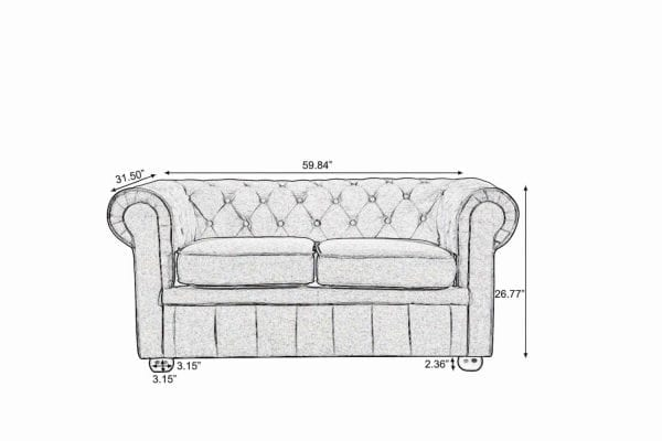 Avignon Classic Chesterfield Loveseat Sketch