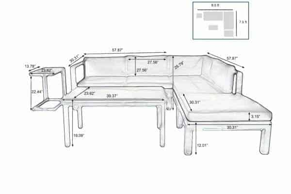Outdoor Patio Sectional Set Aluminum
