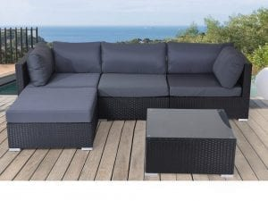 Savosa Black Wicker Sectional Set