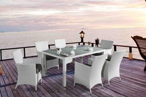 Chiasso 6 White Patio Wicker Dining Set