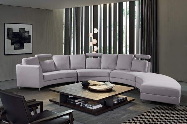 Rossini Light Grey Modern Circular Sectional Sofa