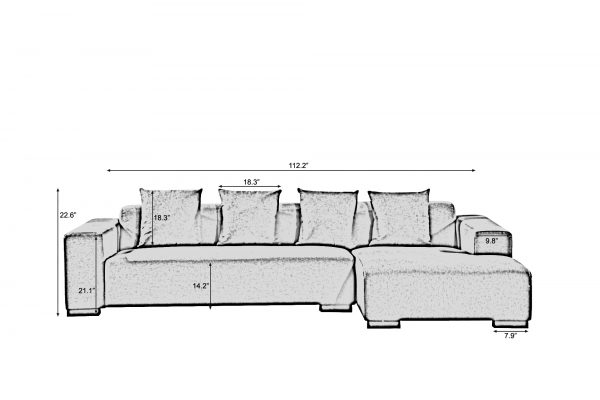 Fabric Sectional Sofa - LYON (R)