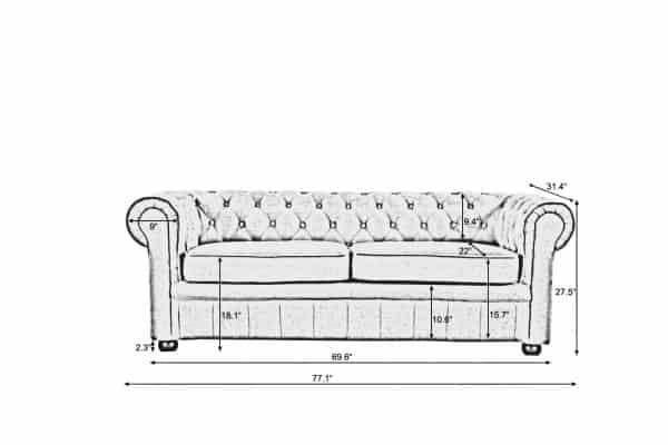 Avignon 3-Seater Classic Chesterfield Sofa
