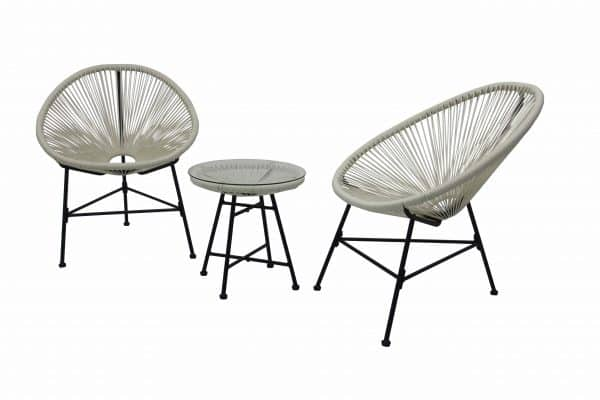 Acapulco White Bistro Set Plastic PVC Strip